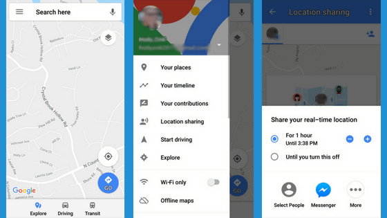 Compartir Ubicación en la Aplicación Google Maps